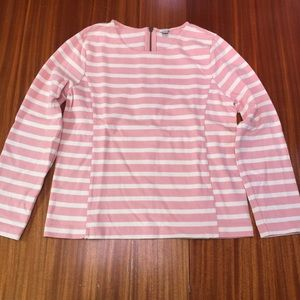 J Crew Long Sleeve, Zip Back, Pink & White Stripe